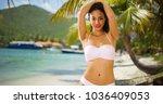 a hispanic girl acts... | Shutterstock . vector #1036409053