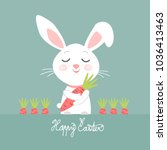 easter bunny with carrots ... | Shutterstock .eps vector #1036413463