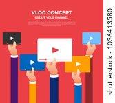 flat design vlog concept.... | Shutterstock .eps vector #1036413580