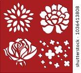 flowers stencils art | Shutterstock .eps vector #1036413808
