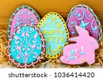 wooden box with cookies in the... | Shutterstock . vector #1036414420