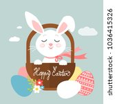 easter bunny in a basket ... | Shutterstock .eps vector #1036415326