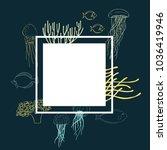 underwater world. jellyfish ... | Shutterstock .eps vector #1036419946