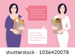 fat woman and slim woman... | Shutterstock .eps vector #1036420078