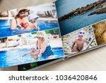 photobook album on deck table... | Shutterstock . vector #1036420846