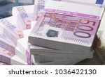 Euro banknotes and Many Euro banknotes - stock photo