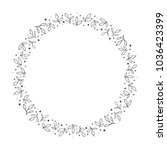 vector hand drawn floral wreath ... | Shutterstock .eps vector #1036423399