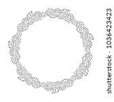 vector hand drawn floral wreath ... | Shutterstock .eps vector #1036423423