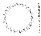 vector hand drawn floral wreath ... | Shutterstock .eps vector #1036423426