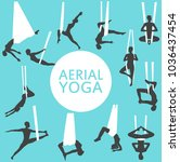 aerial yoga set with young... | Shutterstock .eps vector #1036437454