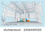 the interior of the plant with... | Shutterstock .eps vector #1036440520
