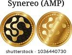 set of physical golden coin...   Shutterstock .eps vector #1036440730