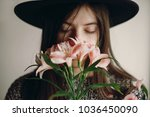 stylish hipster girl in hat... | Shutterstock . vector #1036450090