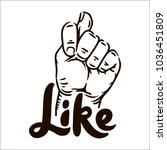 muzzle fig hand with like... | Shutterstock .eps vector #1036451809