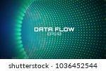 data flow tunnel. geometric... | Shutterstock .eps vector #1036452544