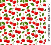 cherry seamless pattern vector... | Shutterstock .eps vector #1036452640