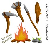 man's primitive weapon. primal... | Shutterstock .eps vector #1036456756