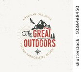 vintage outdoors label. the... | Shutterstock . vector #1036468450