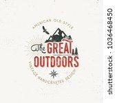 vintage outdoors label. retro... | Shutterstock . vector #1036468450