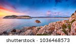 amazing sunset view with... | Shutterstock . vector #1036468573