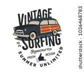 vintage hand drawn surfing tee... | Shutterstock .eps vector #1036468783