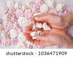 white and pink meringues   Shutterstock . vector #1036471909