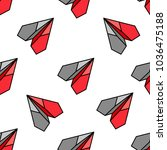red flat paper plane seamless... | Shutterstock .eps vector #1036475188