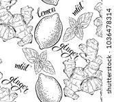 ginger  lemon and peppermint....   Shutterstock .eps vector #1036478314