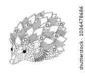 hedgehog. hand drawn picture.... | Shutterstock .eps vector #1036478686