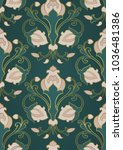 pattern with ornamental flowers.... | Shutterstock .eps vector #1036481386