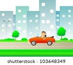 happy cartoon man with car... | Shutterstock .eps vector #103648349