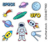 patches cute set with space... | Shutterstock . vector #1036487980