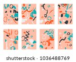 set of 8 cover templates.... | Shutterstock .eps vector #1036488769