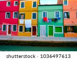 colorful house in burano island ...   Shutterstock . vector #1036497613