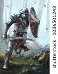 knight running in the woods | Shutterstock . vector #1036501243