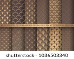 art deco patterns set. golden... | Shutterstock .eps vector #1036503340