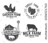 chicken farm badge or label.... | Shutterstock .eps vector #1036521763