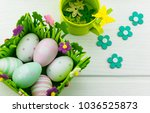 easter greeting card with... | Shutterstock . vector #1036525873