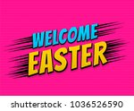 happy easter holiday comic text ... | Shutterstock .eps vector #1036526590