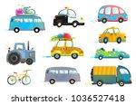 car bus taxi police truck...   Shutterstock . vector #1036527418