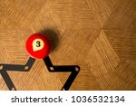 number three billiard ball on a ... | Shutterstock . vector #1036532134