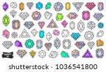 gems patch badges set. doodle... | Shutterstock .eps vector #1036541800