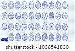 easter eggs doodle set. spring... | Shutterstock .eps vector #1036541830