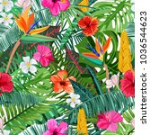 tropical seamless pattern with... | Shutterstock .eps vector #1036544623