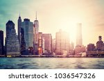 manhattan skyline at sunset ... | Shutterstock . vector #1036547326