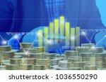 businessman on digital stock... | Shutterstock . vector #1036550290