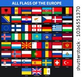 set of flags of all countries... | Shutterstock .eps vector #1036551370
