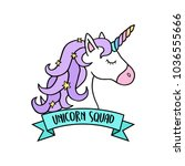 magical colorful unicorn head...   Shutterstock .eps vector #1036555666