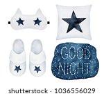 bedtime things set. hand drawn... | Shutterstock . vector #1036556029