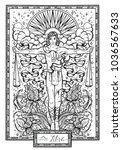 zodiac sign libra or scales... | Shutterstock .eps vector #1036567633